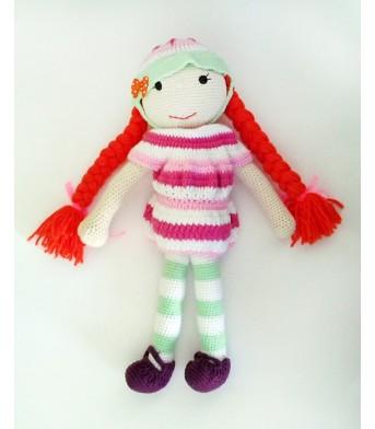 Amigurumi Şapkalı Saçı Örgülü Renkli Bebek Oyuncak