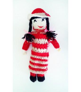 Amigurumi Şapkalı Saçı Örgülü Kırmızı Bebek Oyuncak