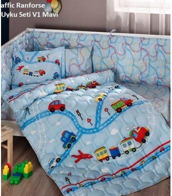 Taç Bebek Uyku Seti Traffıc Mavi