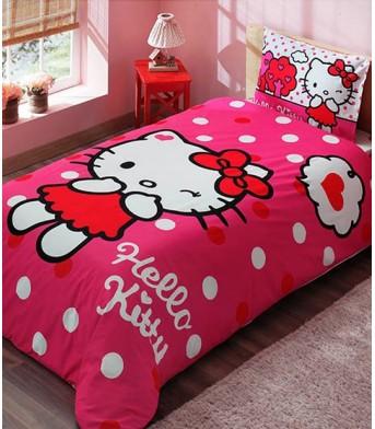 Taç Lisanslı Hello Kitty Pink Tek Kişilik Nevresim Takımı
