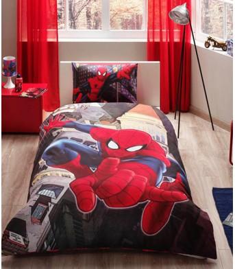 Taç Lisanslı Spiderman In City Tek Kişilik Nevresim Takımı